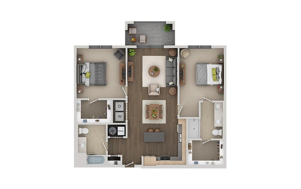 C2 2 Bedroom 2 Bath Floorplan