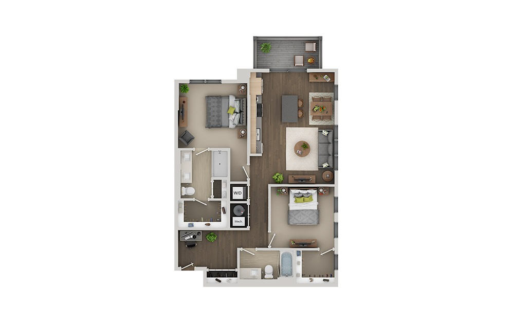 C3 2 Bedroom 2 Bath Floorplan