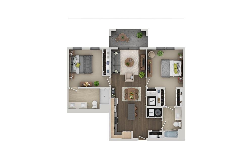 C4A 2 Bedroom 2 Bath Floorplan