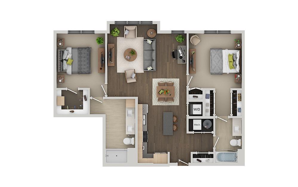 C5B 2 Bedroom 2 Bath Floorplan