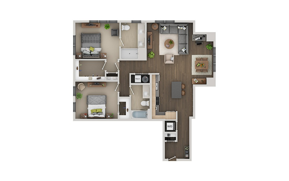 C6 2 Bedroom 2 Bath Floorplan