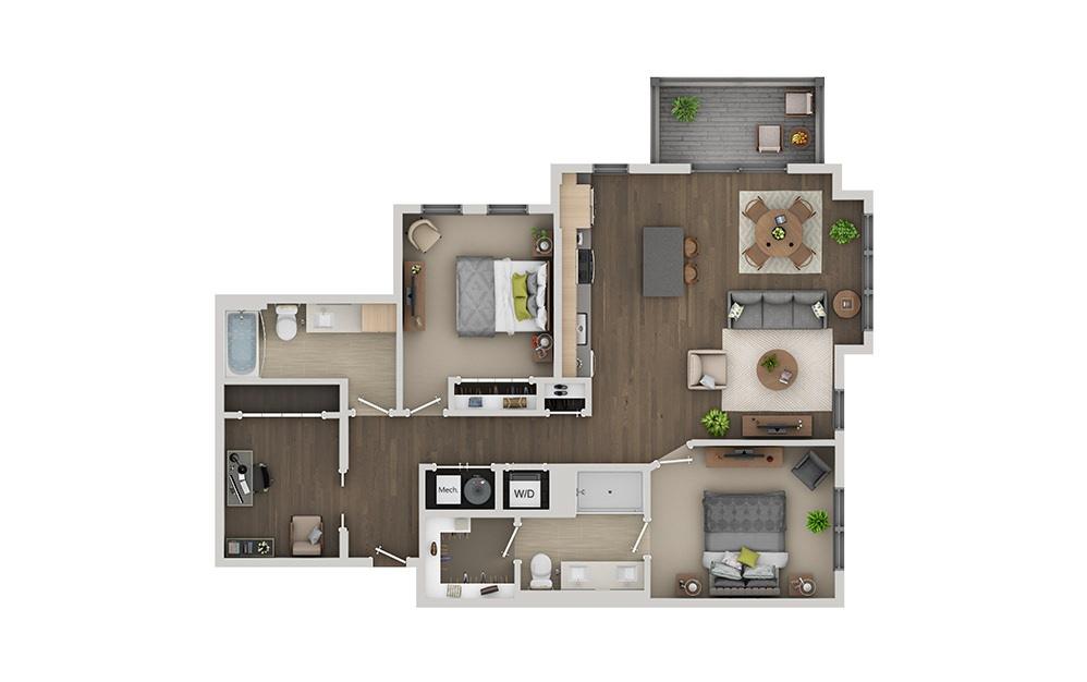 C8B 2 Bedroom 2 Bath Floorplan