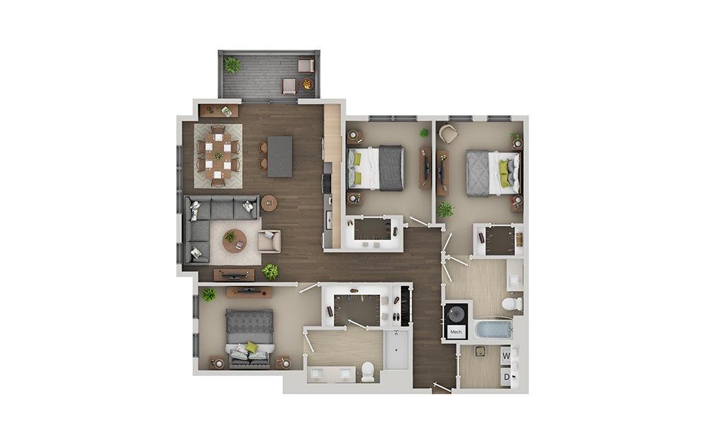 D02 Studio 1 Bath Floorplan