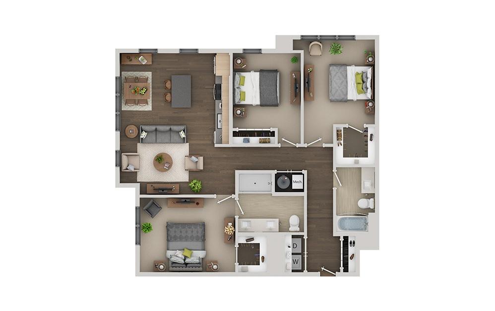 D03 Studio 1 Bath Floorplan