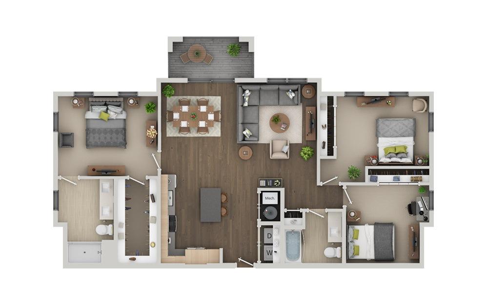 D5 3 Bedroom 2 Bath Floorplan
